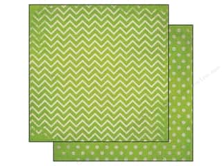 Bo Bunny 12 x 12 in. Paper Double Dot Chevron Kiwi (25 sheets)
