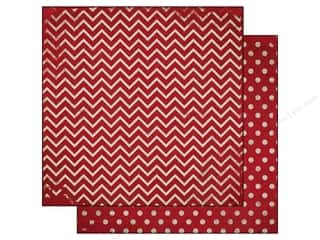 Bo Bunny 12 x 12 in. Paper Double Dot Chevron Wild Berry (25 sheets)