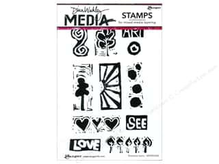 Clearance Art Impressions Rubber Stamp: Ranger Dina Wakley Media Stamp Primitive Icons
