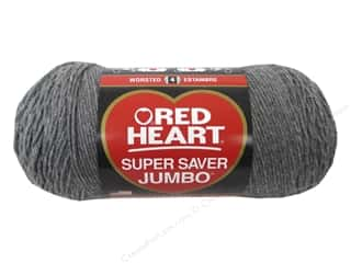 Red Heart Super Saver Jumbo Yarn #0400 Grey Heather 482 yd.