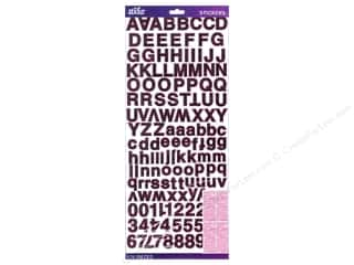 stickers: EK Sticko Stickers Alpha Value Pack Helvetica Standard Foil Pink