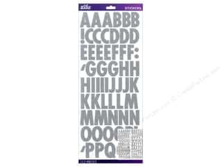 Alphabet Stickers / Number Stickers: EK Sticko Alphabet Stickers Futura Glitter Silver