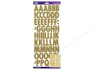 Alphabet Stickers / Number Stickers: EK Sticko Alphabet Stickers Futura Glitter Gold