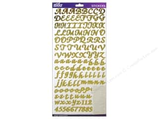 Alphabet Stickers / Number Stickers: EK Sticko Alphabet Stickers Script Value Pack Foil Gold
