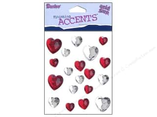 Darice Self-Stick Gems 12 mm Heart 19 pc. Red/Clear