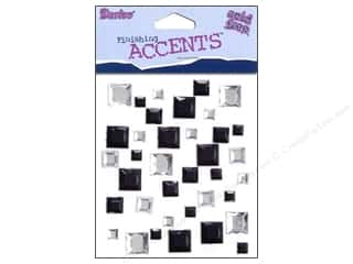 Darice Self-Stick Gems 8 mm Square 37 pc. Black/Clear