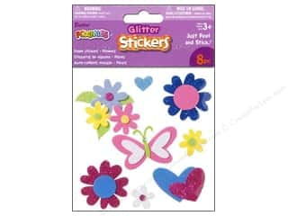 Darice Foamies Stickers 3D Glitter Flowers 8 pc.