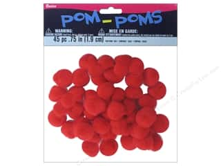 "3/4"" pom poms: Darice Pom Poms 3/4 in. (19 mm) Red 45 pc."