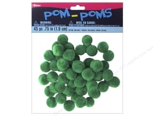 "3/4"" pom poms: Darice Pom Poms 3/4 in. (19 mm) Christmas Green 45 pc."