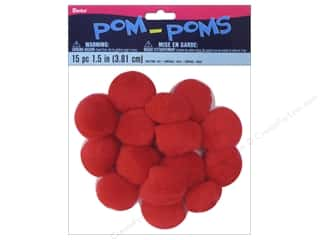 Darice Pom Poms 1 1/2 in. (38 mm) Red 15 pc.
