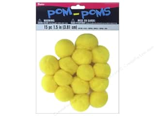 craft & hobbies: Darice Pom Poms 1 1/2 in. (38 mm) Dark Yellow 15 pc.
