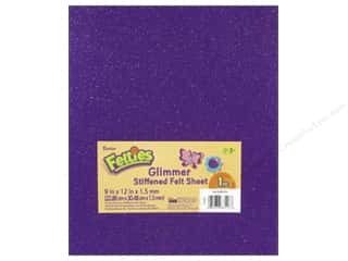 "glitter felt: Darice Felties Sheet 9""x 12"" 1.5mm Glimmer Purple (5 sheets)"