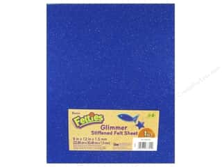 "glitter felt: Darice Felties Sheet 9""x 12"" 1.5mm Glimmer Royal Blue (5 sheets)"