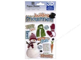 stickers: Paper House Sticker 3D Building Snowman