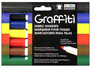 scrapbooking & paper crafts: Marvy Uchida Graffiti Fabric Markers Set 6 pc. Primary