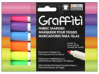 Marvy Uchida Graffiti Fabric Markers Set 6 pc. Fluorescent