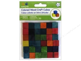 craft & hobbies: Craft Medley Wood Craft Cubes 5/8 in. Colored 36 pc.