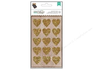 scrapbooking & paper crafts: American Crafts Stickers DIY Shop Glitter Gold Hearts