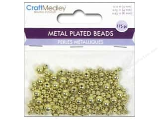 beading & jewelry making supplies: Multicraft Bead Metal Plated Round 3/4/6mm Gold
