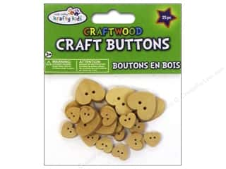 Multicraft Krafty Kids Craftwood Button Natural Hearts 25pc