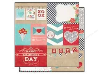 "Pattern $4-$6 Clearance: Simple Stories Hugs & Kisses Collection Paper 12""x 12"" Element #1 (25 sheets)"