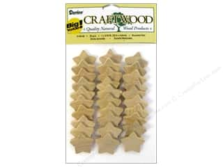 Ornament: Darice Wood Craftwood Rounded Star 1 in. 30 pc.