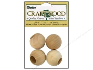 Darice Wood Craftwood Ball with Hole 1 in. 4 pc.