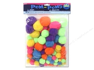 craft & hobbies: Darice Pom Poms Big Value Bold Neon Assorted 100 pc.