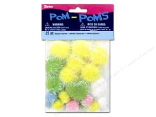 Pom Poms tinsel: Darice Pom Poms Assorted Size Easter Iridescent 25 pc.