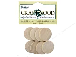 Clearance: Darice Wood Craftwood Circle 1 in. 8 pc.