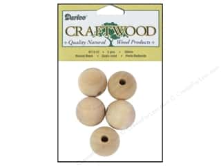 wood beads: Darice Wood Craftwood Bead Round 3/4 in. 5 pc.