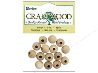 wood beads: Darice Wood Craftwood Bead Round 1/2 in. 15 pc.