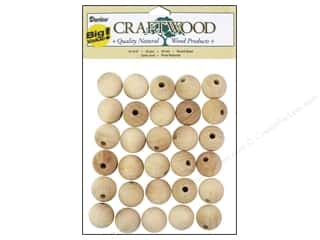 Darice Wood Craftwood Round Bead 3/4 in. 30 pc.