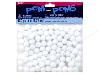 craft & hobbies: Darice Pom Poms 1/2 in. (13 mm) White 100 pc.