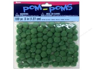 craft & hobbies: Darice Pom Poms 1/2 in. (13 mm) Kelly Green 100 pc.