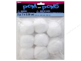 craft & hobbies: Darice Pom Poms 2 in. (50 mm) White 8 pc.