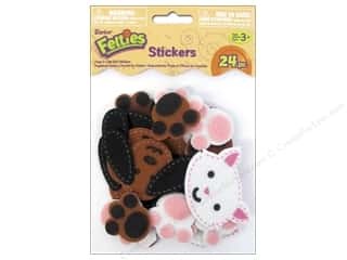 scrapbooking & paper crafts: Darice Felties Felt Stickers 24 pc. Stitched Dogs & Cats