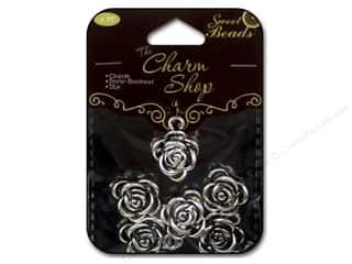 Clearance Sweet Beads: Sweet Beads Charms Metal Rose 6  pc. Silver