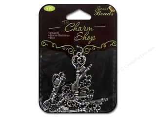 pendants jewelry: Sweet Beads Charms Metal Key 9 pc. Silver