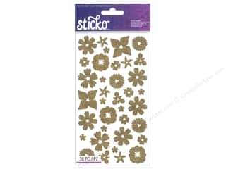 EK Sticko Stickers Glitter Flowers Gold