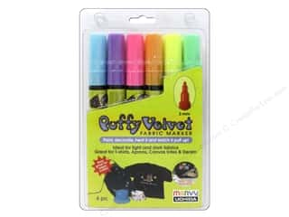 Uchida Fabric Markers Puffy Velvet Set Fluorescent 6pc