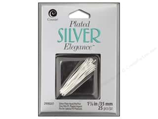 beading & jewelry making supplies: Cousin Elegance Head Pins 1 1/4 in. 25 pc. Silver Plate