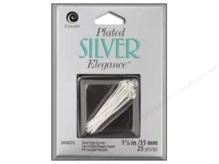 "Eye Pin: Cousin Elegance Silver Plated Eye Pin 1.25"" 18pc"