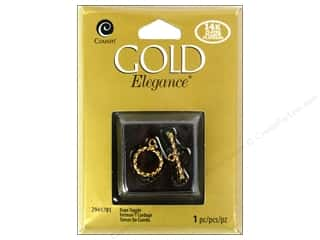 beading & jewelry making supplies: Cousin Elegance Toggle Clasp 1 pc. Rope 14K Gold Plate