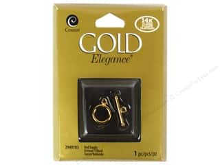 beading & jewelry making supplies: Cousin Elegance Toggle Clasp 1 pc. Round 14K Gold Plate