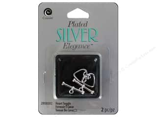 beading & jewelry making supplies: Cousin Elegance Toggle Clasp 12 x 15 mm 1 pc. Heart Silver Plate