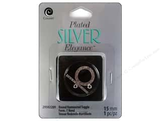 beading & jewelry making supplies: Cousin Elegance Toggle Clasp 15 mm 1 pc. Hammered Silver Plate