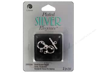 beading & jewelry making supplies: Cousin Elegance Toggle Clasp 10 mm 2 pc. Band Silver Plate