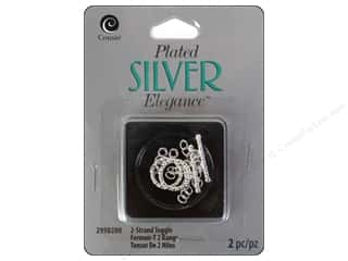 beading & jewelry making supplies: Cousin Elegance Toggle Clasp 2 pc. 2 Strand Silver Plate