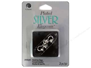 beading & jewelry making supplies: Cousin Elegance Hook Eye Clasp 18 mm 2 pc. Silver Plate